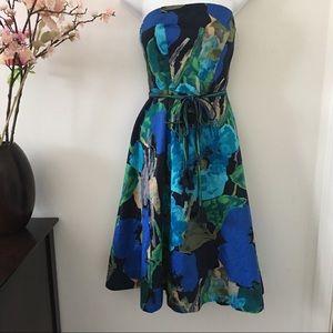 Anthropologie Summer Blue Floral Dress Size 10